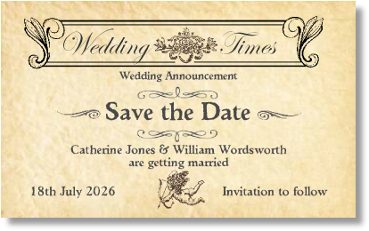 order w5 wedding times newspaper parchment
